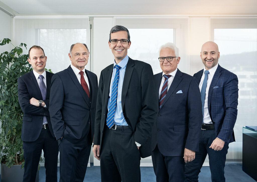 Verwaltungsrat der NEUE BANK AG (von links nach rechts): Prof. Dr. Manuel Ammann (Niederteufen, Präsident), Dr. Ernst Walch (Planken, Vizepräsident), Willy Bürzle (Balzers, Mitglied), Marc Sola (Triesenberg, Mitglied), Mag. Damian Wille (Vaduz, Mitglied)
